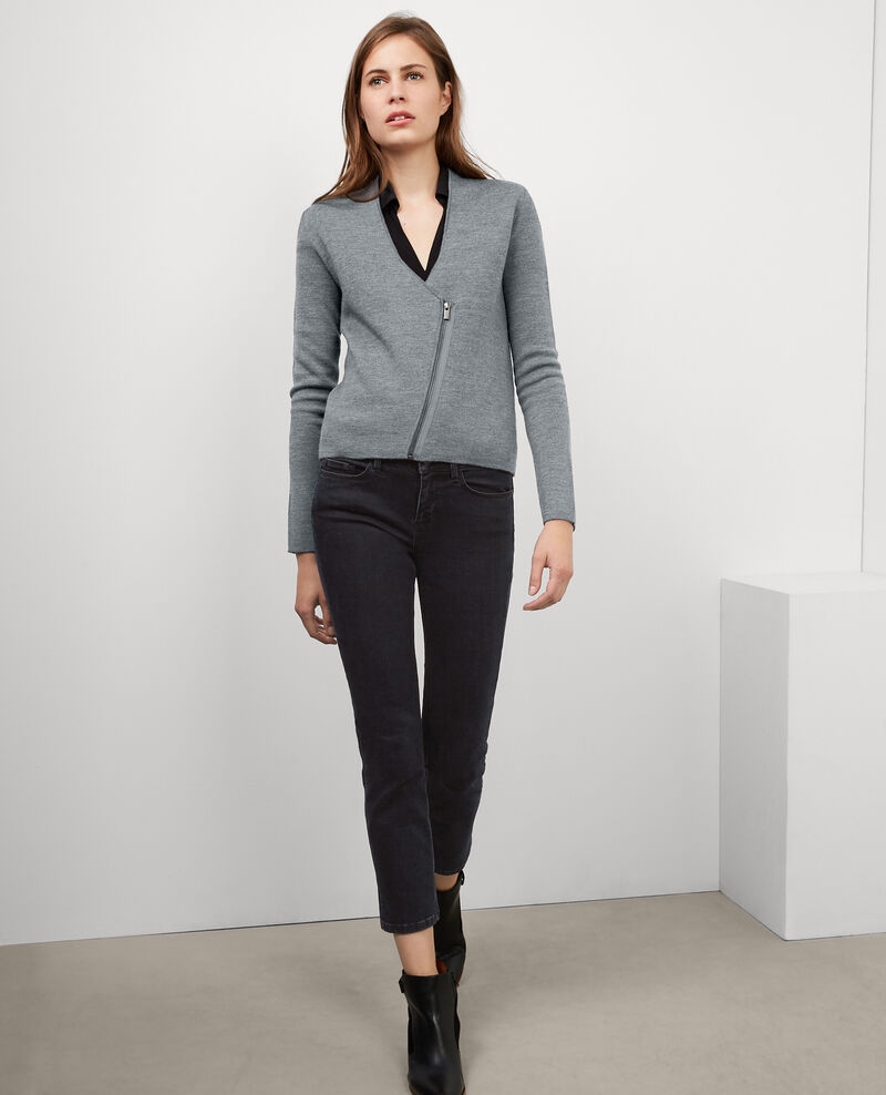 Wool zip-up cardigan jacket Gris fonce/gris chine Buggy