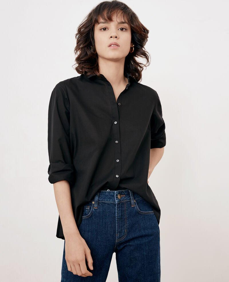 Shirt with pleated back Noir Fratrie