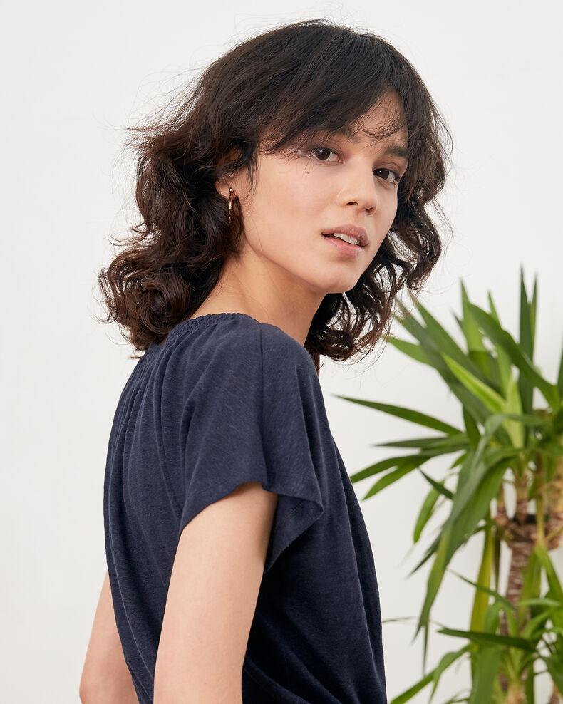 Linen T-shirt Navy Flabi