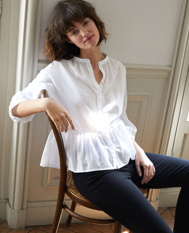 Peplum blouse Blanc Garniture