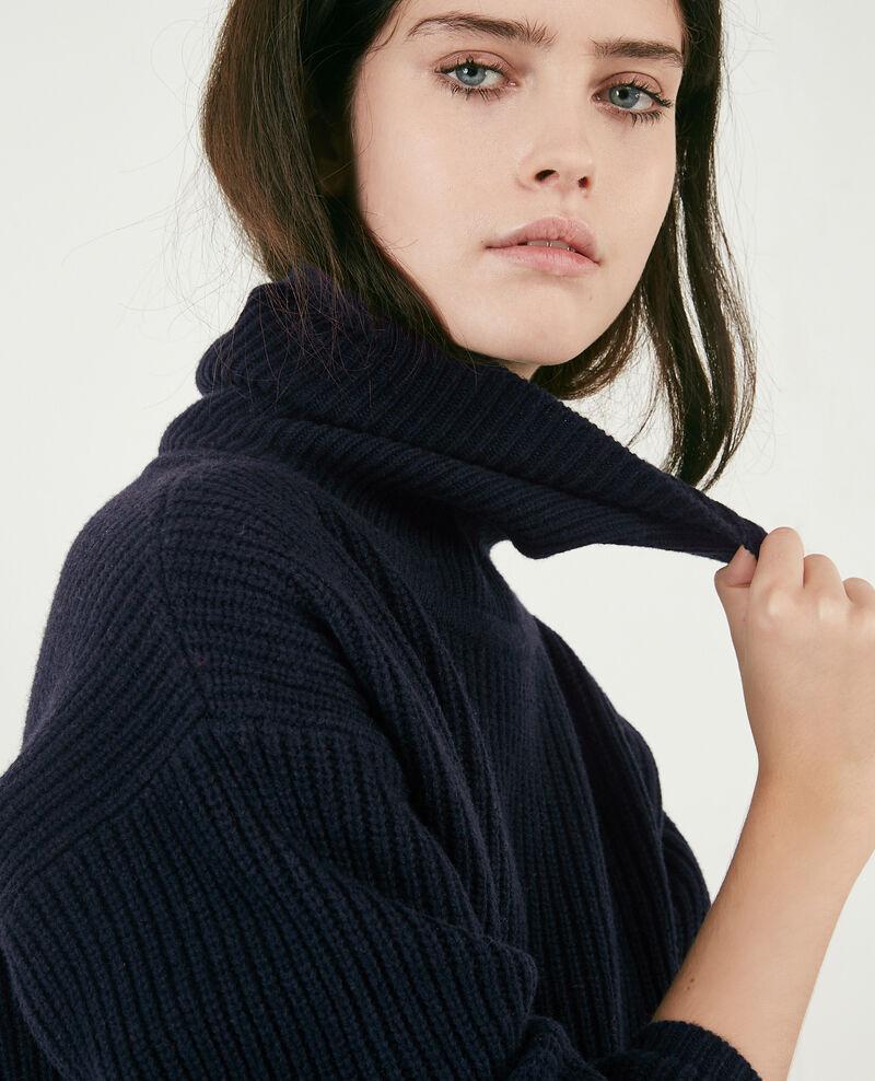 100% wool roll neck jumper Navy Dacheville