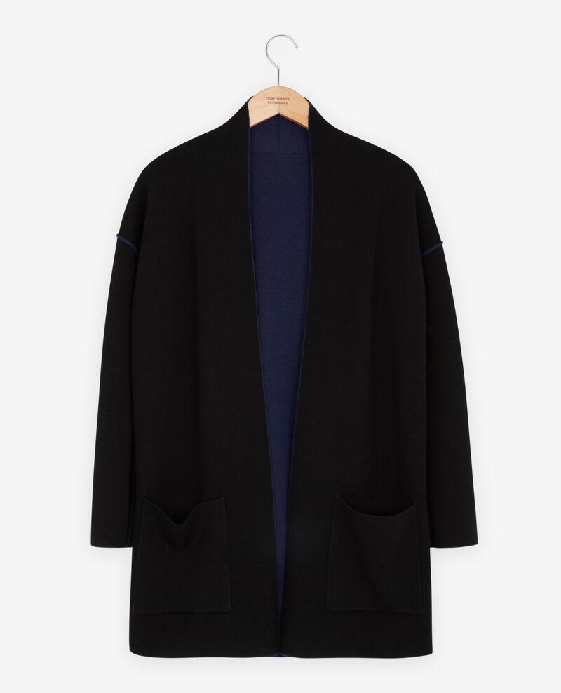Reversible wool cardigan  Marine/black Finger