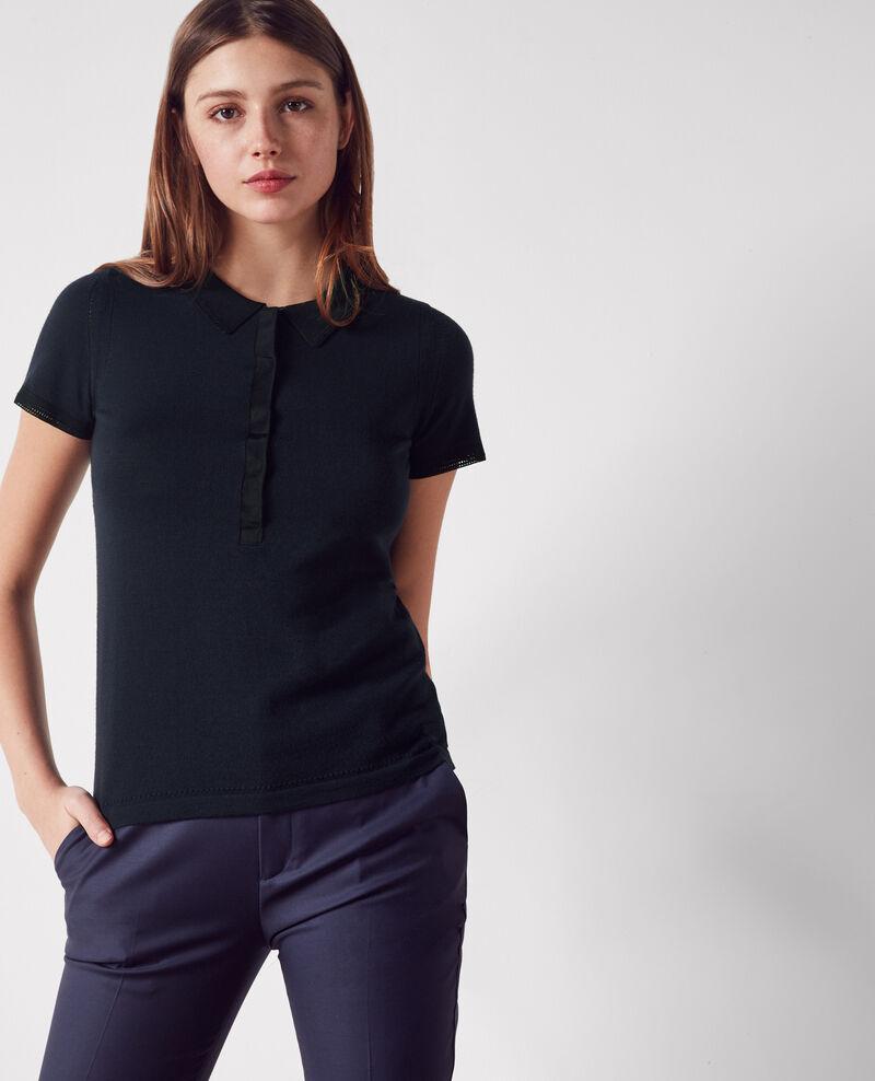 Fine-knit wool polo neck Dark navy/black Clou