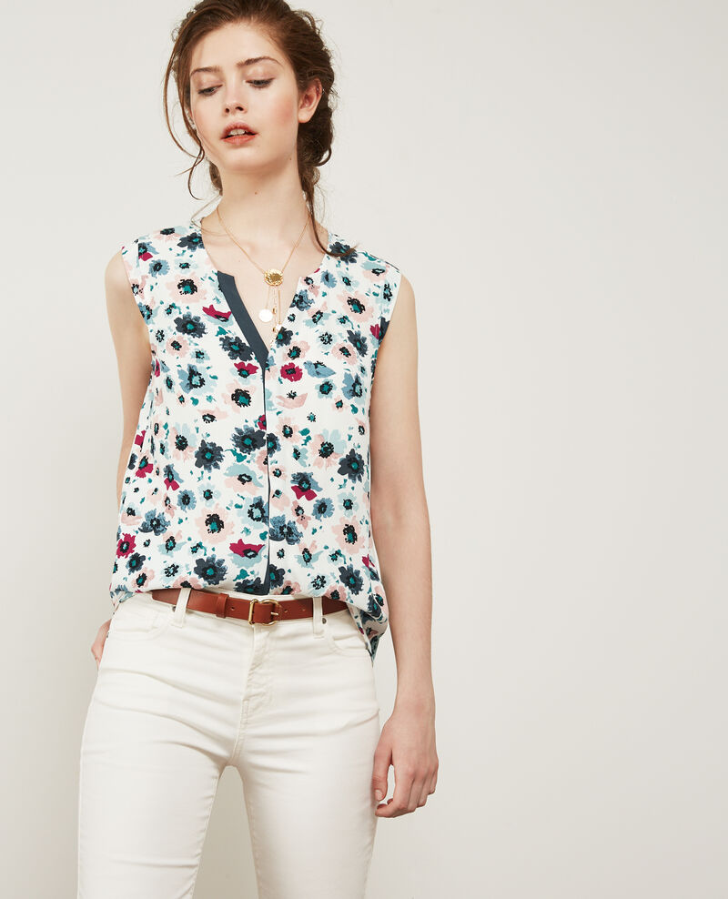 Printed wrap-fronted blouse Poppies off white Donjuan