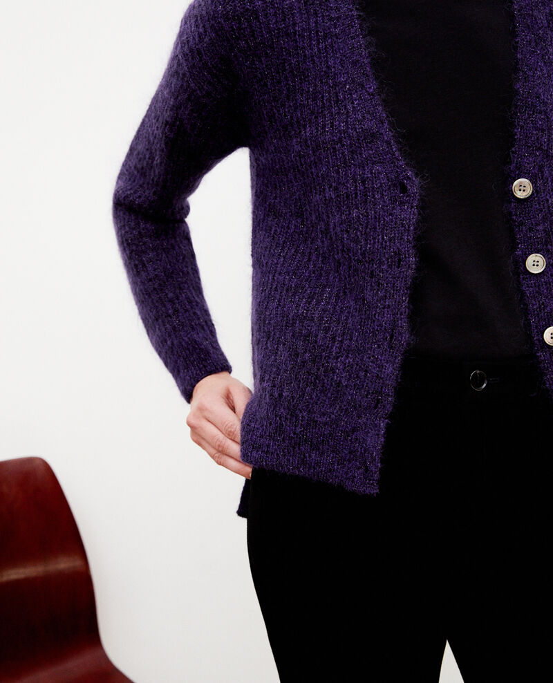 Mohair blend cardigan Purple/noir/lurex Guirlande