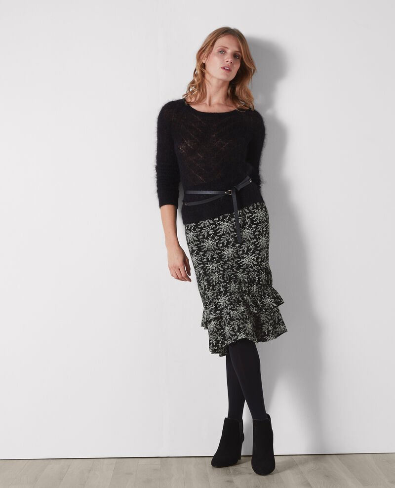 Frilly half-length skirt Romantic garden black Cachuche