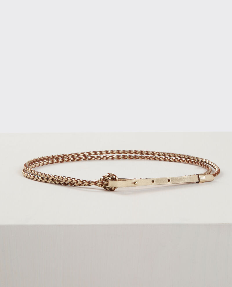 Thin braided leather double-wrap belt Light gold Clean