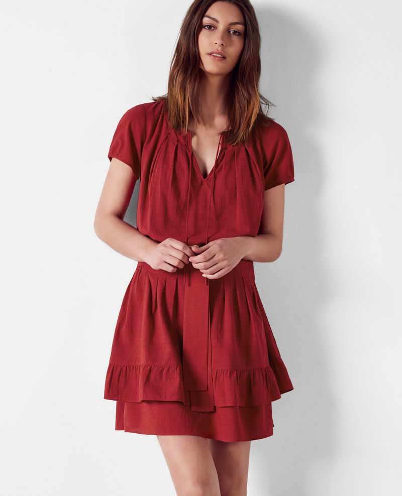 Frilly dress with embroidery details Raspberry Costarica
