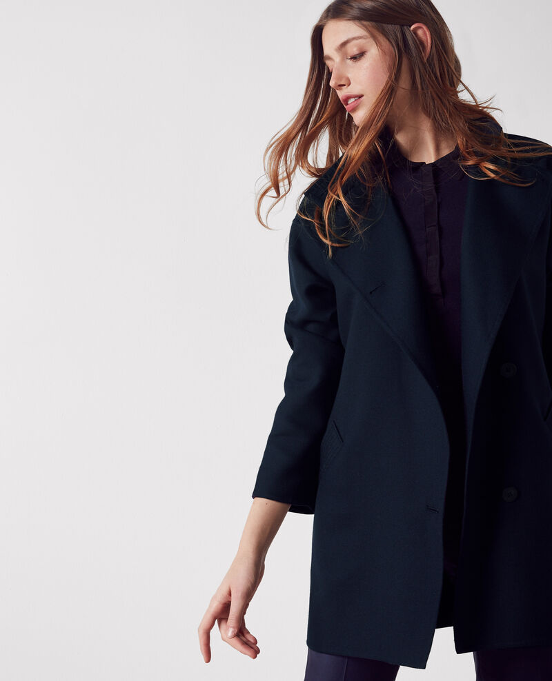 Double-sided floaty coat with biker neck Dark navy Cacola