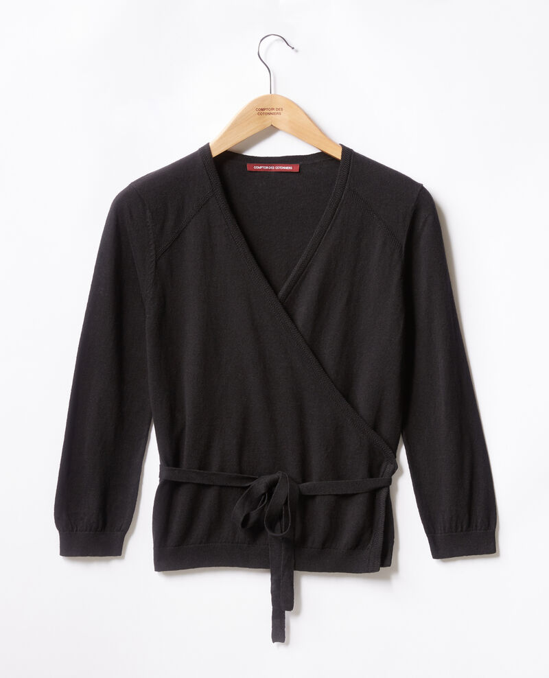 Wrap cardigan with linen NOIR