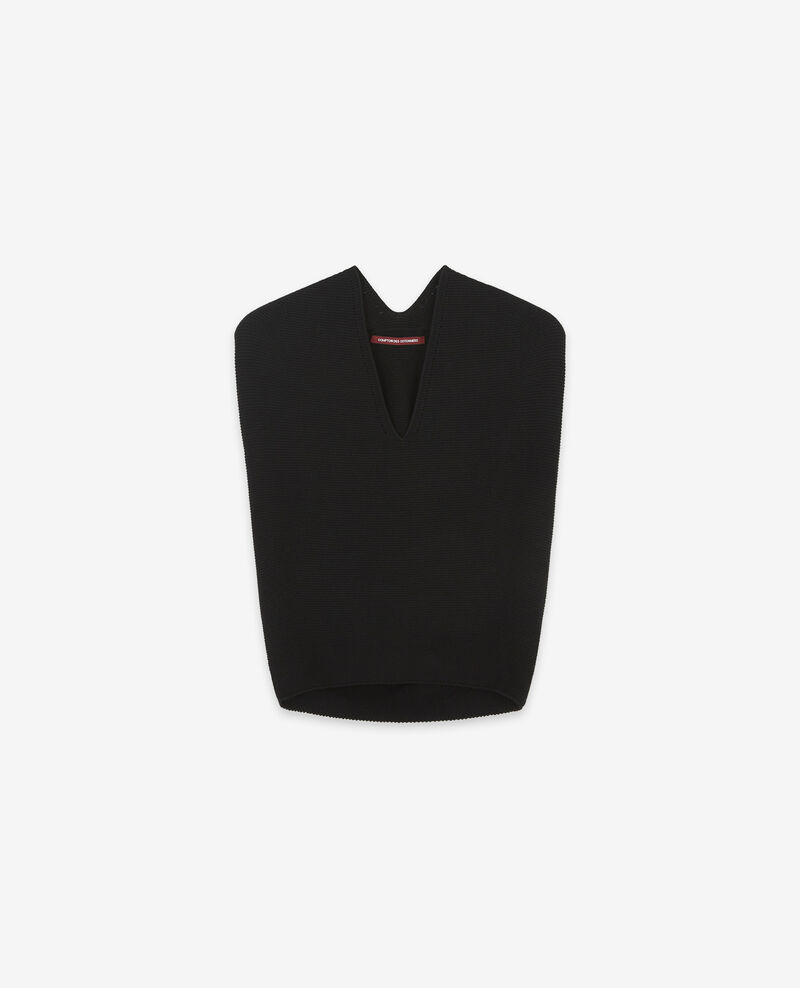 Seamless knitted short sleeve jumper Noir Dexterieur