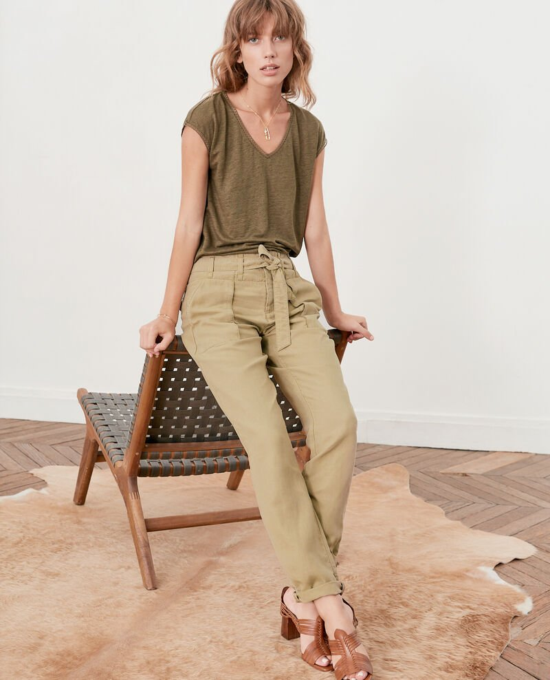 Belted chino trousers  MASTIC