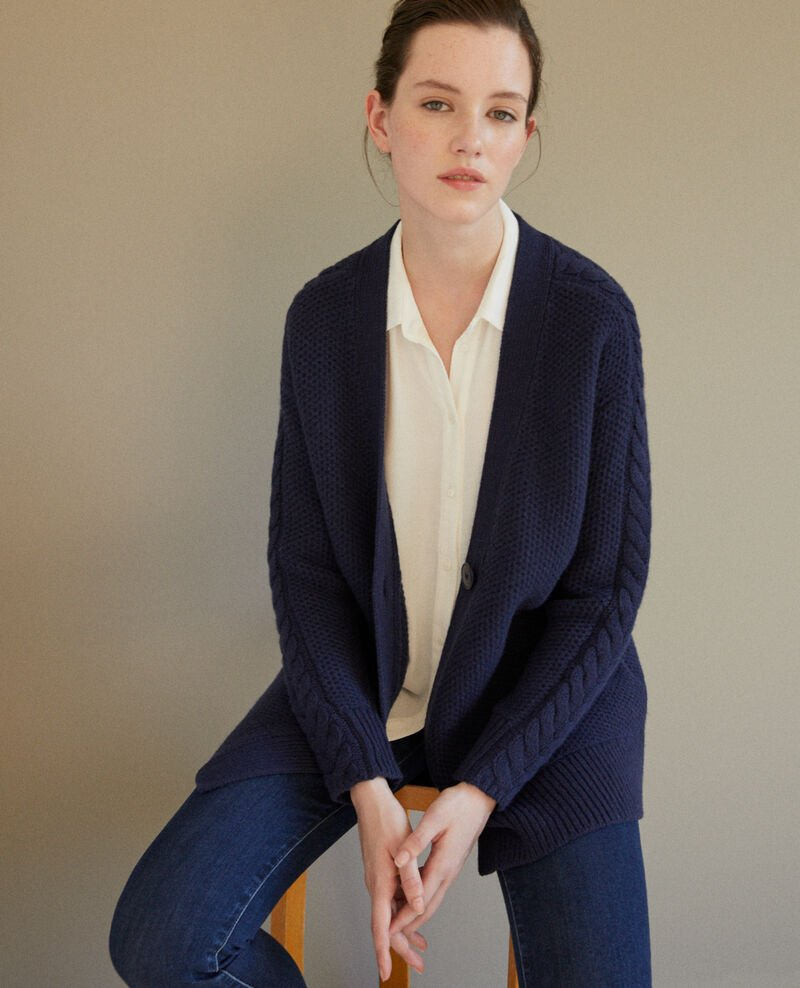 Cardigan with braiding details Peacoat Goatie