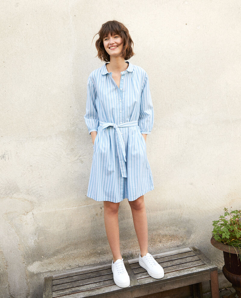 Shirt collar dress ADRIATIC/OFF WHITE STRIPES