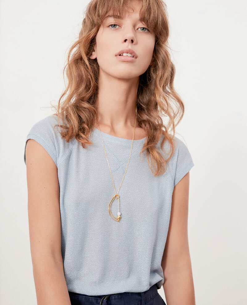 Iridescent T-shirt with linen AZUR