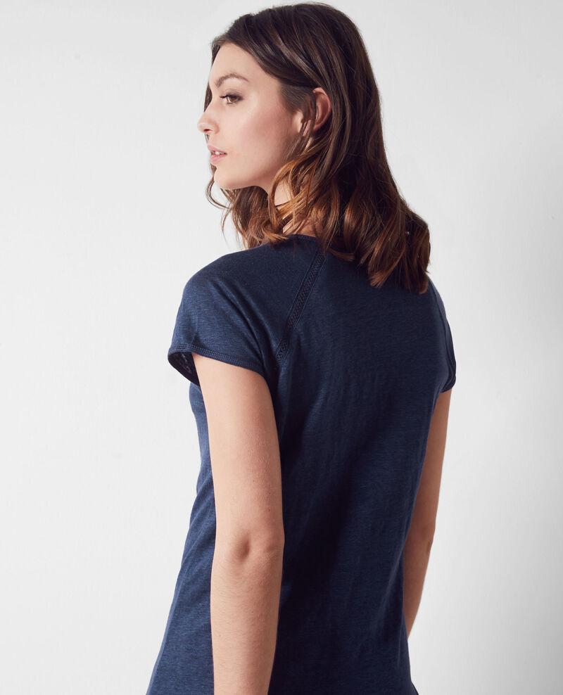 Linen t-shirt Indigo Caramel