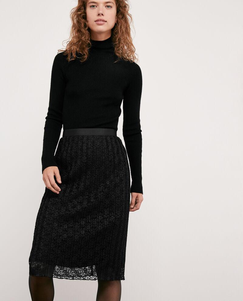 Pleated lace skirt NOIR