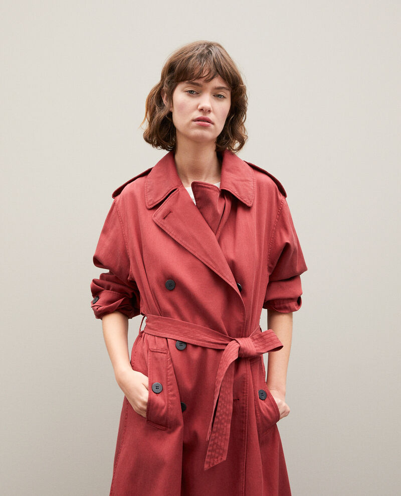 Mid-length trench coat Cowhide Gabia
