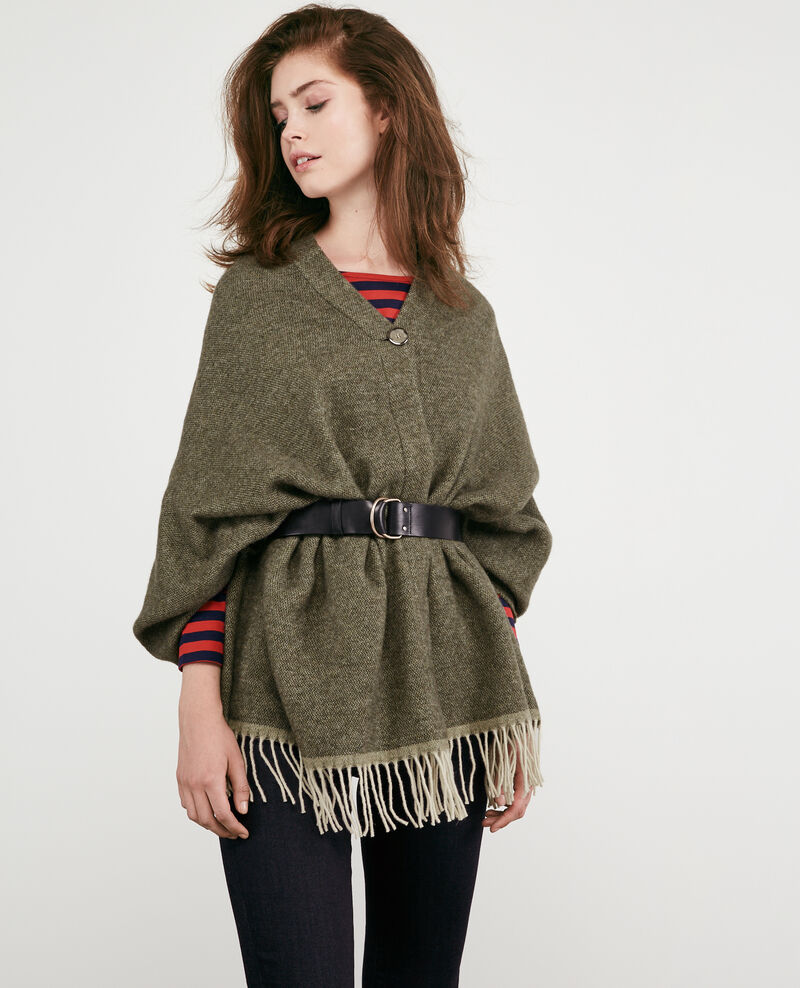 Cardigan-stole with wool Light kaki Double