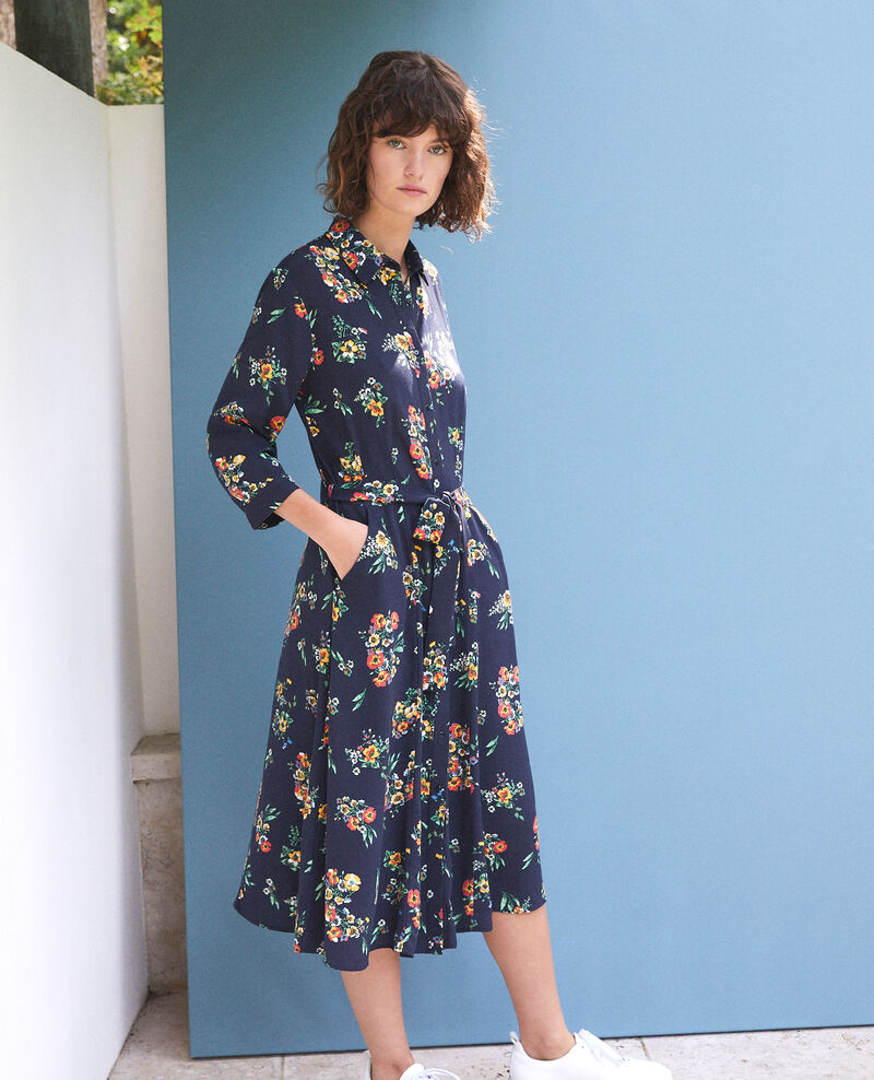 Mid-length dress FLEURS NAVY