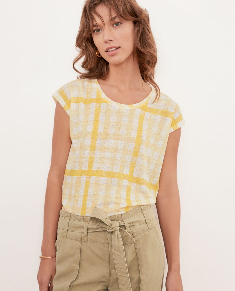 Printed linen T-shirt GHINGHAM BIG LEMON