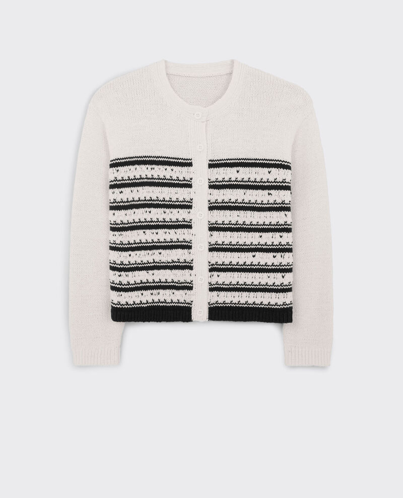 Short striped cardigan White/midnight Chapka