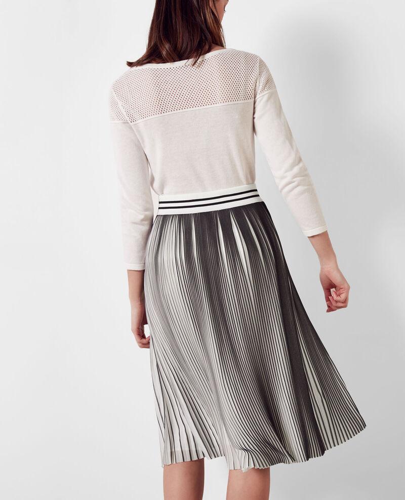 Two-tone pleated skirt Black/white Carine