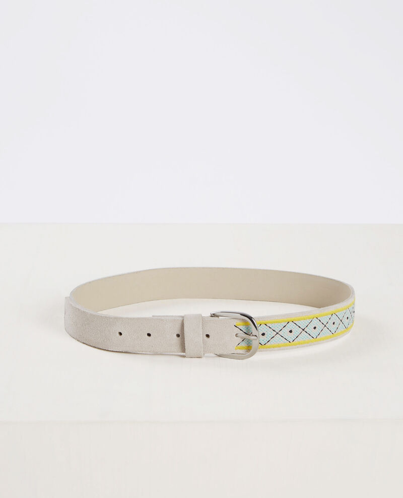 Embroidered suede leather belt Off white Cebroder