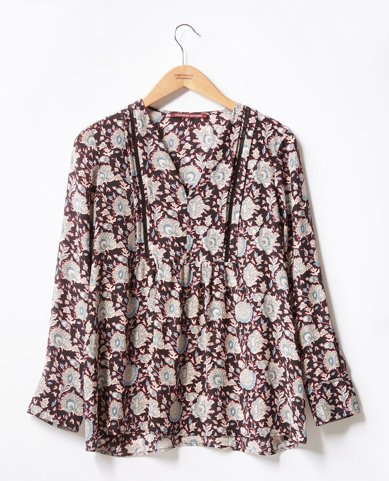 Printed silk blouse Darjeeling black Francesca