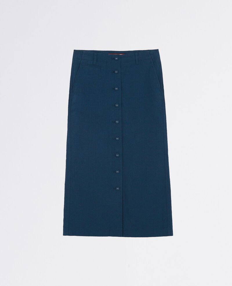 Linen button-front skirt Midnight Catacombes