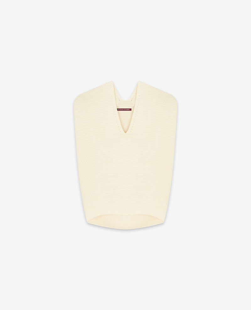 Seamless knitted short sleeve jumper Off white Dexterieur