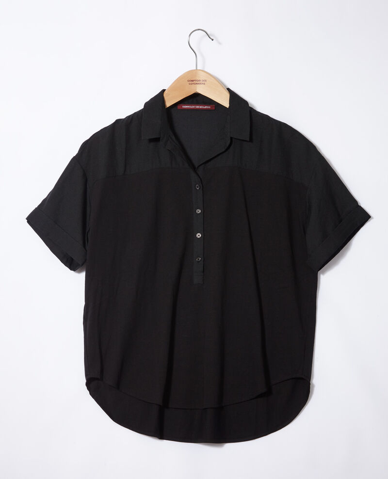 Bimaterial shirt NOIR