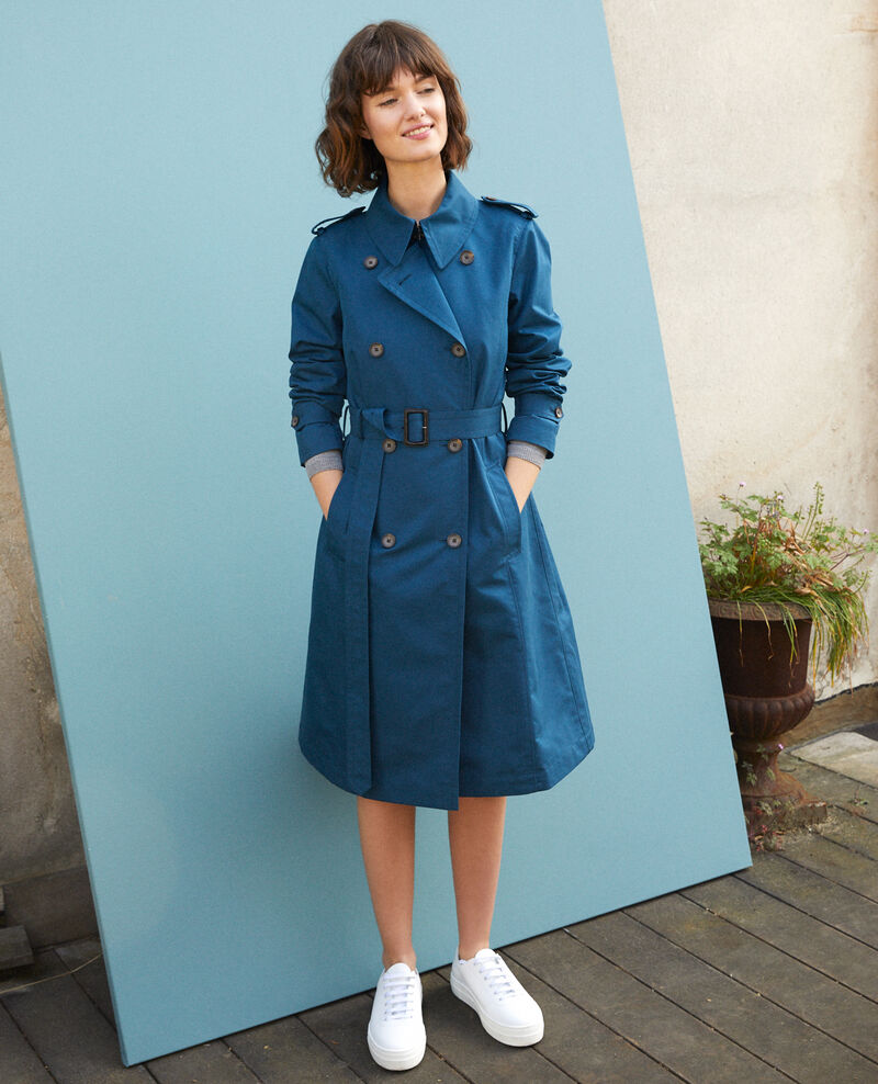Mid-length trench coat Majolica blue Gabien