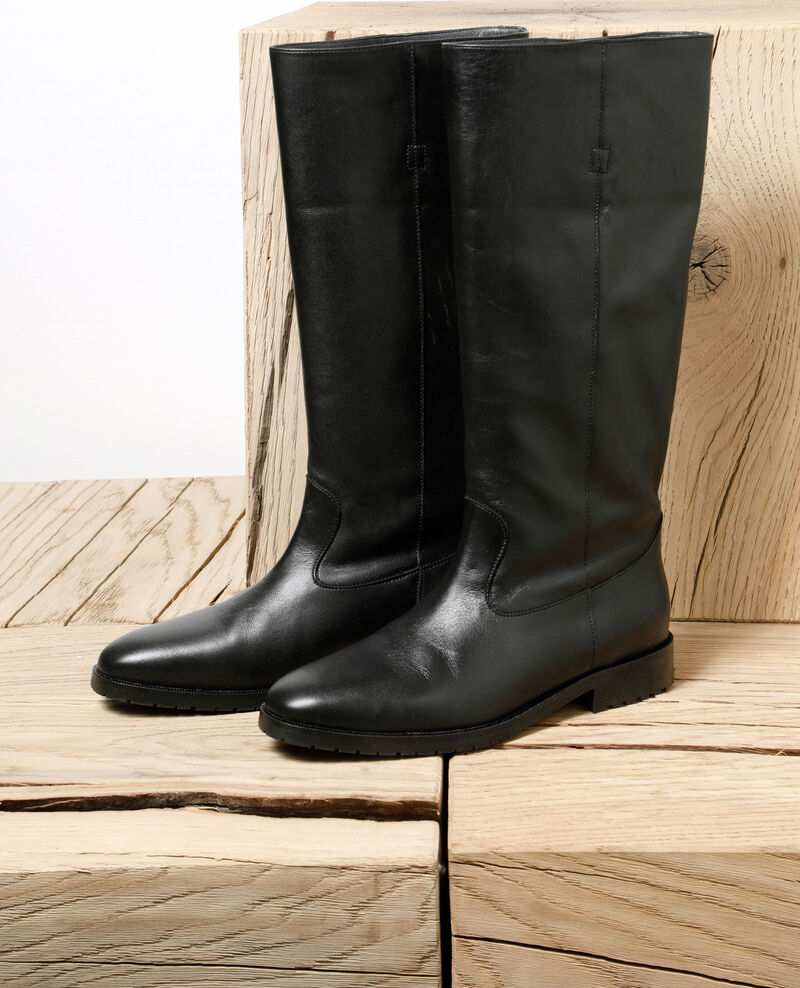 Smooth leather boots NOIR