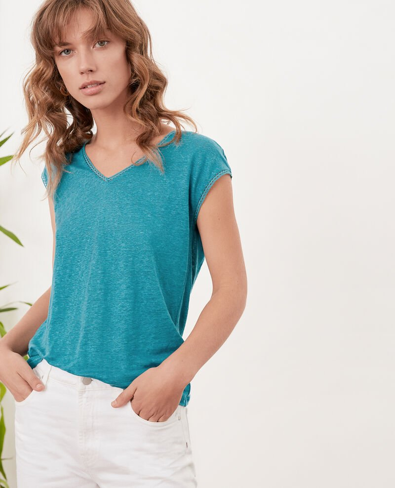Linen T-shirt PACIFIC GREEN