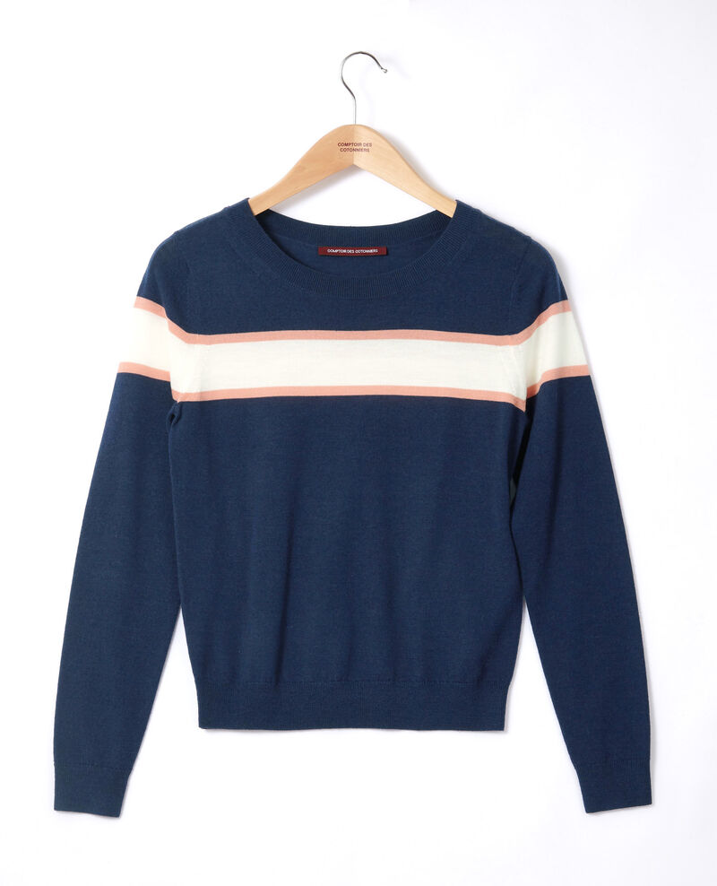 Merino wool cardigan Medieval blue/off white/burnt coral Gengoux