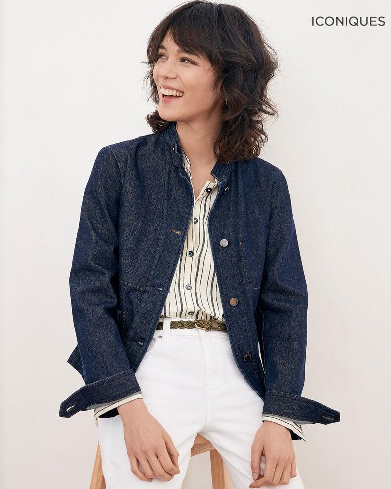Denim jacket with stand-up collar INDIGO