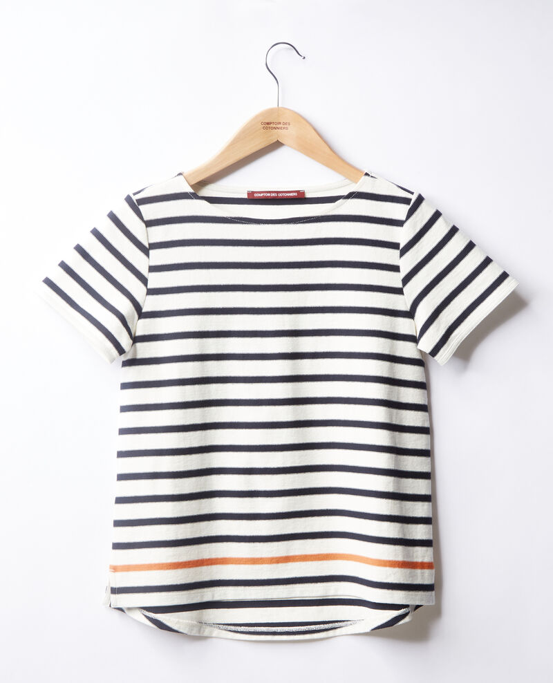 Striped T-shirt Kaolin/navy/tangerine Fosette