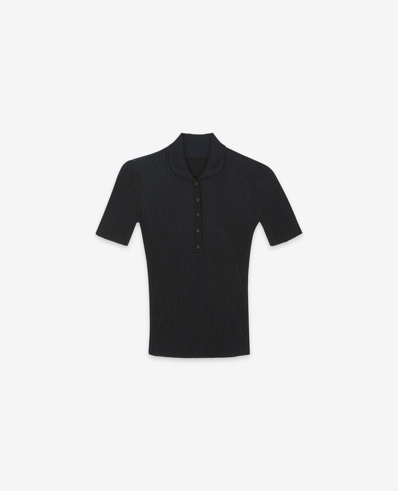 Ribbed knit t-shirt Noir Dragibus