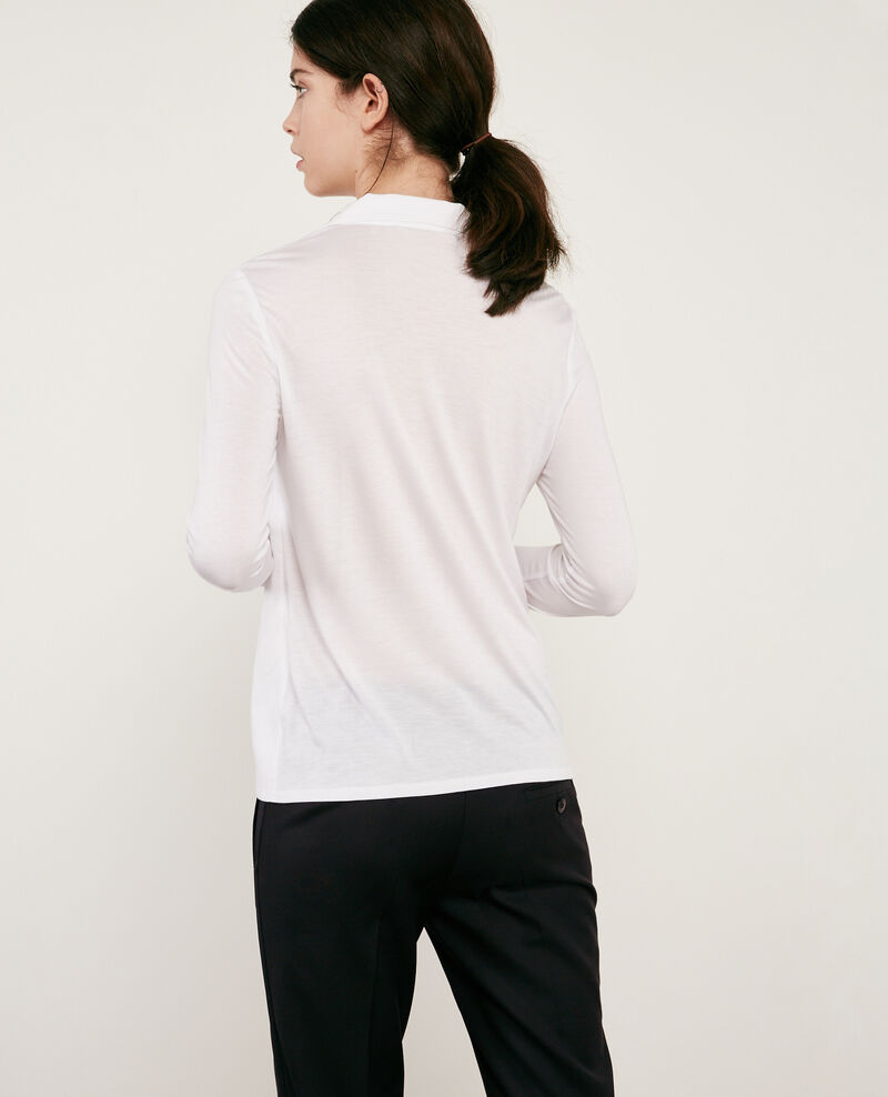 Jersey and crêpe shirt Blanc 9capados