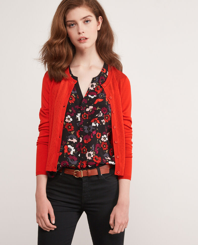 Lightweight merino wool cardigan Orange red Dappeau
