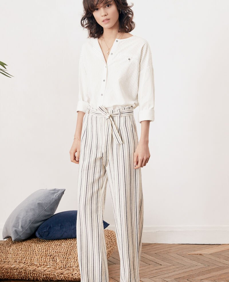 Striped wide leg trousers Off white/navy stripes Francis