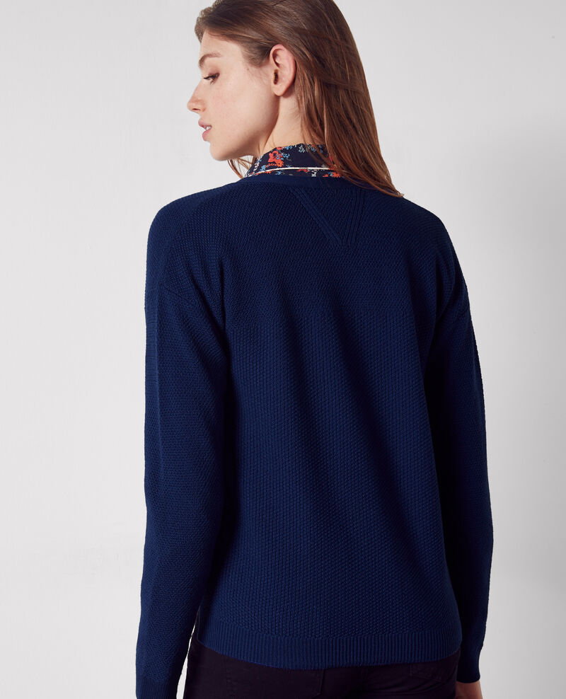 Wool open cardigan Indigo Cacou