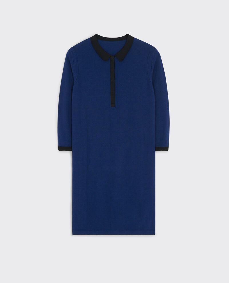 Merino wool fine-knit polo dress Indigo/black Curly