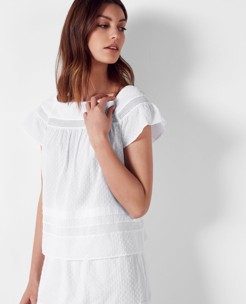 Frilly dotted swiss blouse Blanc Calcul