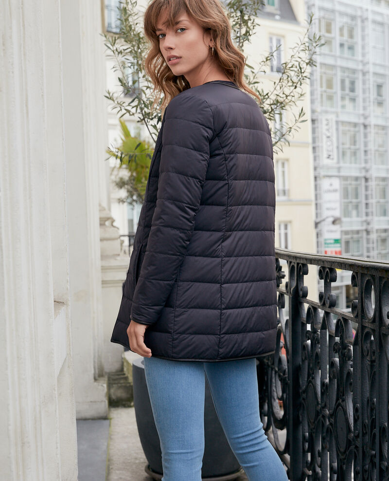 Mid-length reversible padded jacket Navy/noir Dilong