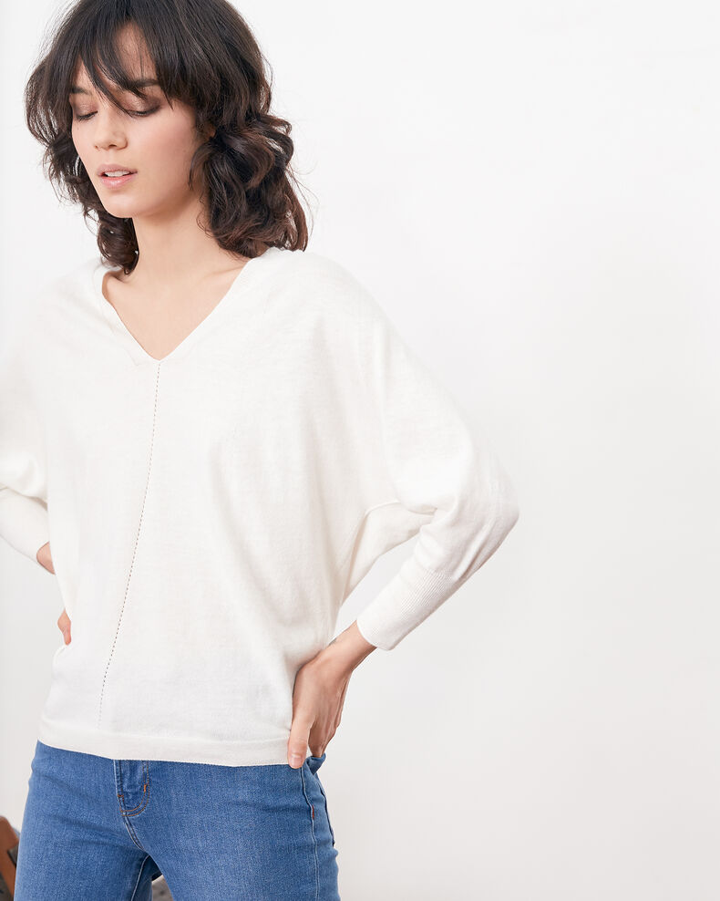 Jumper with 3/4 sleeves OFF WHITE