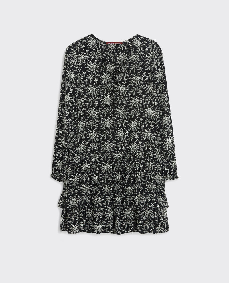 Frilly print dress Romantic garden black Cachou