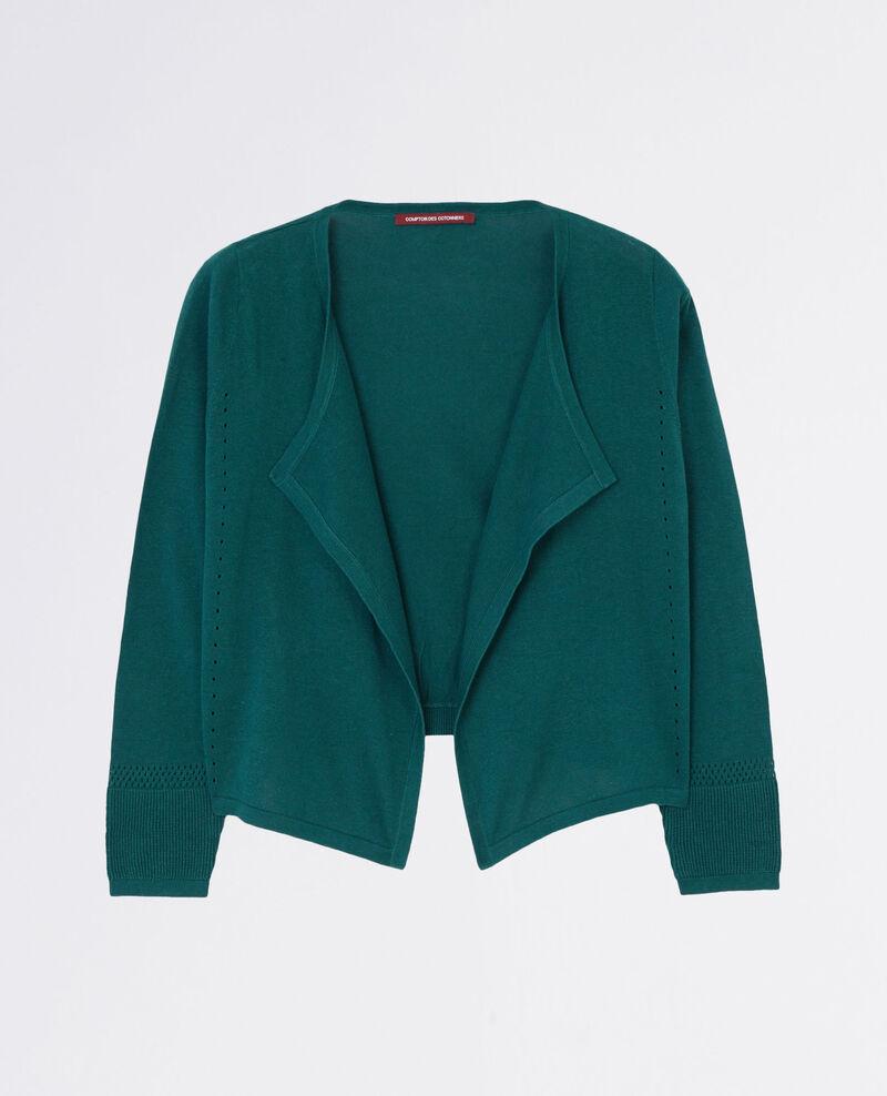 Short linen open cardigan Jungle green Colchic