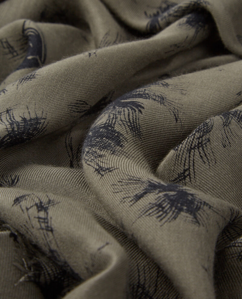 Square print scarf Anemone kaki Cava